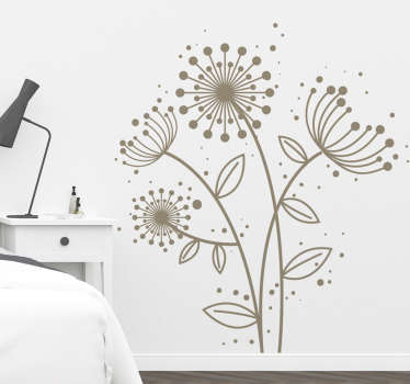 Decorative dandelion plant wall sticker which is customizable in any one of the colours we have in our catalog. Easy to apply and self adhesive.