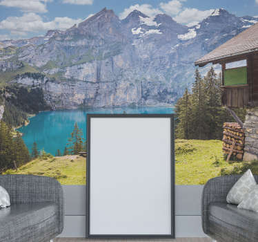 Decorative nature wall mural sticker with the view of mountain, water and house. It is easy to apply and available in different sizes.