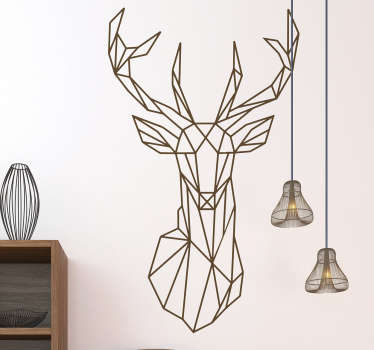 Geometric wall sticker of a magnificent stag head to create a powerful atmosphere in your bedroom, living room and more!