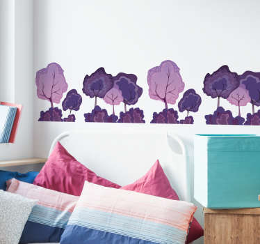 Violet forest adhesive border tree wall sticker to decorate any flat wall space, be it in the home or in business and office space.