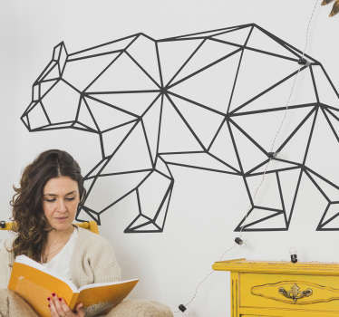 The modern and creative wall sticker with an origami effect shows a bear walking Decorate your living room, your bedroom or any other smooth surface with an oriental wall decal.