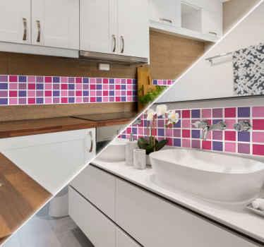 Adesivo de azulejos tons de rosa