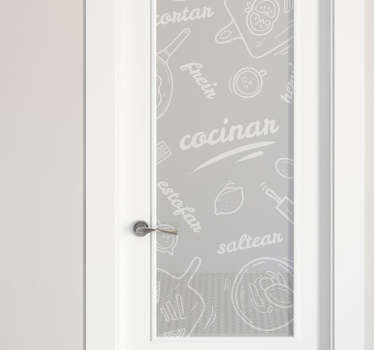 Glass door vinyl decal for kitchen space with features of cooking utensils and text. It is available in different colours and in any size required.
