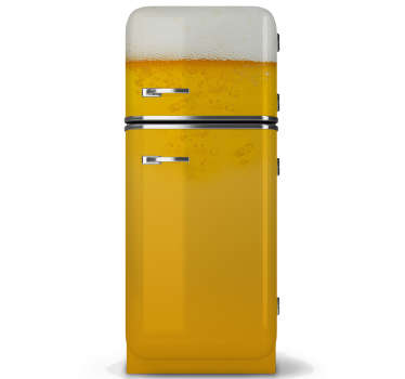 Beer fridge door vinyl sticker to decorate in style It is a design created with a textural appearance of a beer with bubbles. It is easy to apply.