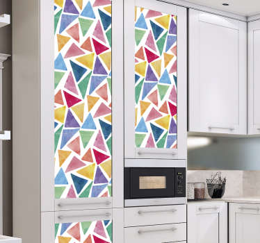 Geometric kitchen cabinet furniture sticker with multi colour background. It is easy to apply and available in any required size.