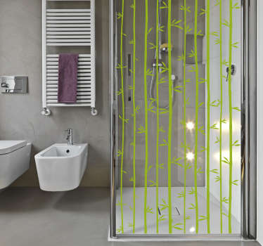 A bathroom shower door sticker made of bamboo patterned design. It is customisable in any size and available in different colours options.