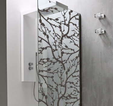 Boomtakken douchescherm zelfklevende sticker om de deur van een doucheruimte te versieren. Het is verkrijgbaar in verschillende kleuren en aanpasbaar in grootte.