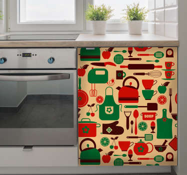 Decorative kitchen cabinet furniture decal made with design prints of cutlery and cooking utensils on colorful background.