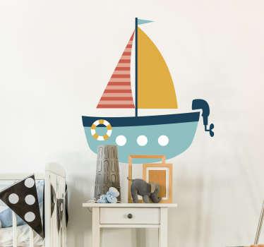 Sticker kinderkamer roeiboot met motor