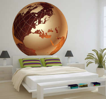 Another decorative sticker of the world map but with the golden European continent. Excellent to decorate any space at home or work.