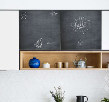 Blackboard kitchen cabinet furniture decal for home use. It can be cleaned wend rewritten on with chalk. Easy to apply and available in any size.