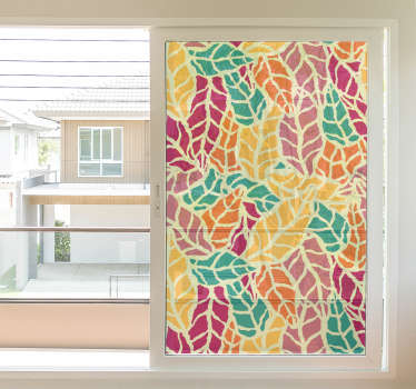 Translucent ornamental window decal created with colorful leave prints . It is adhesive and easy to apply. Available in any size needed.