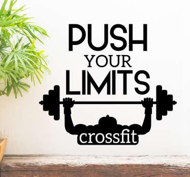 Preencha as paredes do seu ginásio com este vinil decorativo crossfit para incentivar os praticantes de ginásio a ''puxar'' os seus limites.