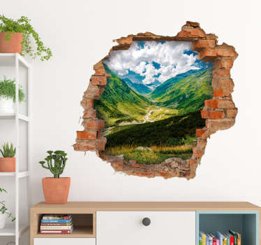 Vinilos 3d pared rota con la simulación de un agujero en la pared con vistas a un valle y aun paisaje montañoso.