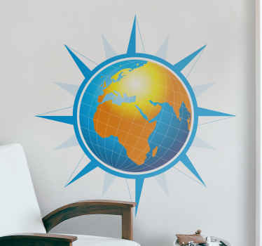 A creative wall decal of the world map with a touch of a wind rose. A great sticker to decorate your room if you love flowers.