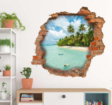 Adesivo murale illusione buco muro vista mare