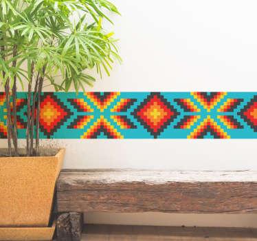 Autocolante azulejo huichol mexicano