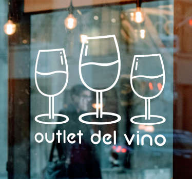 Wine outlet business window sticker with the design of  wine glasses and text. It is available in different colour and sizes.