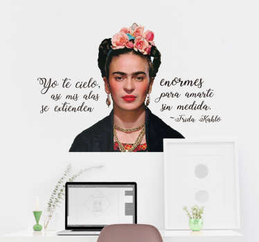 A character wall sticker with the print image of Frida Kohlo and her quote phrase. It is available in any required size and easy to apply.
