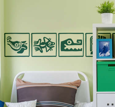 Mayan tribe child art border sticker to decorate the home in classic style. It is available in different colours and size options.