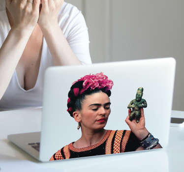 High quality laptop sticker with a very realistic portrait of Frida Kahlo will be a perfect decoration that will show your passion to art!