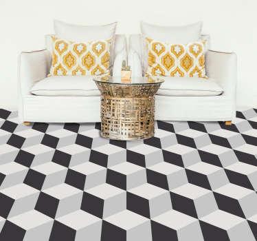 Traga a magia do 3-D para o chão da sua casa com este magnífico vinil autocolante, com padrão de cubos de cor preta e branca.