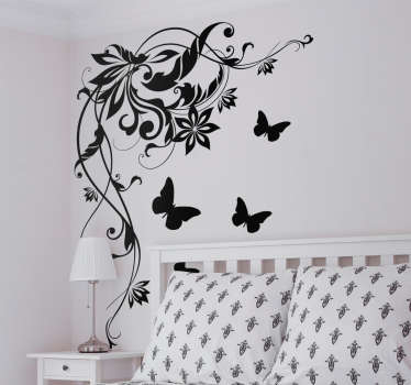 Butterflies with flower wall art sticker for home decoration .It is self adhesive, easy to apply and available in any required size.