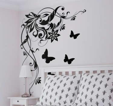 Naklejka na ścianę kwiatowy wzór z motylkami