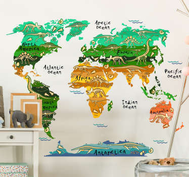 Dinosaur world map educational wall sticker for children space decoration. It is available in any required size and easy to apply.