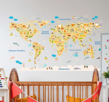 Decorative fauna world map wall decal to decorate the bedroom space of children. It is available in different sizes and it is customizable.