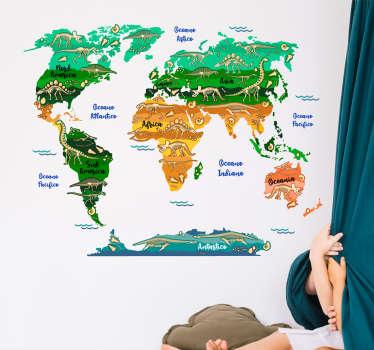 Harta lumii dinozaur autocolant de perete educațional pentru decorarea spațiului dormitorului pentru copii. Este disponibil în orice dimensiune necesară și aplicația este ușoară.