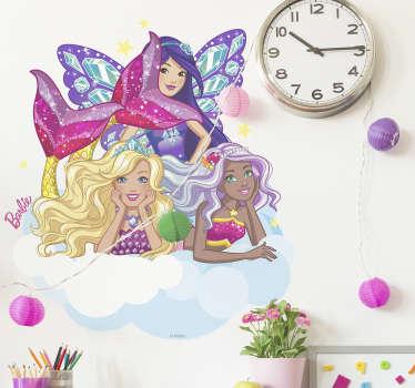 Autocolantes parede das sereias da Barbie