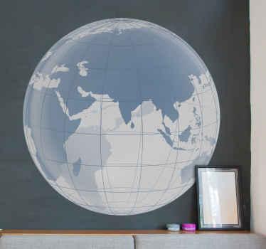 Sticker wereld bol transparant Indische oceaan