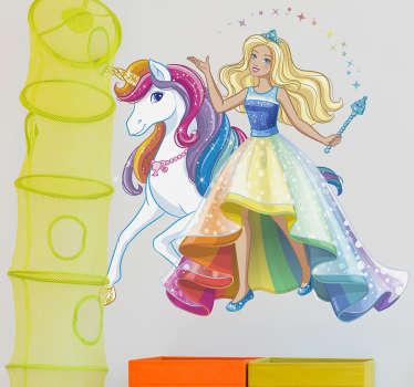 Vinilo Barbie fantasía unicornio