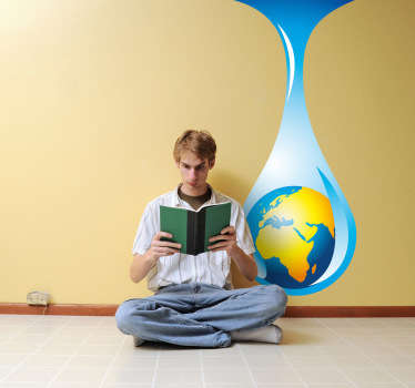 A creative wall decal of the planet earth inside a water drop. Superb decal to decorate any space at home.