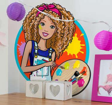 Autocolantes parede Barbie Pintora