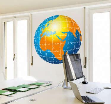 Sticker wereld bol puzzel