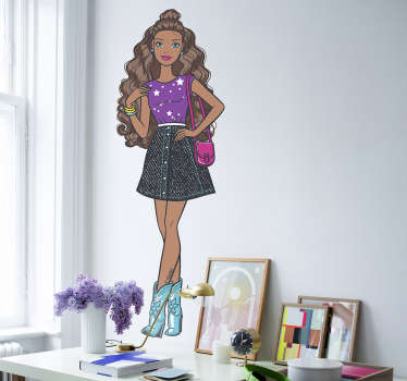 Pegatina black Barbie fashionista