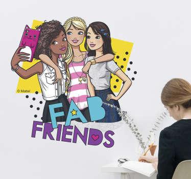 Autocolante decorativo da Barbie e amigas