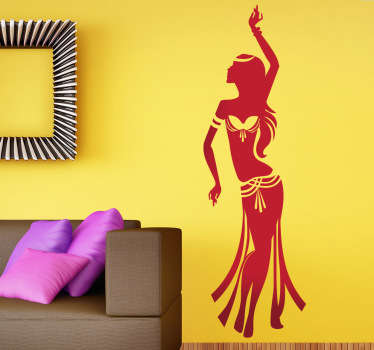 Belly dancer wall sticker to add some culture and style to your home or dance studio. This exotic dance sticker is just what you need to create a unique atmosphere on any wall, available in various sizes and 50 different colours.
