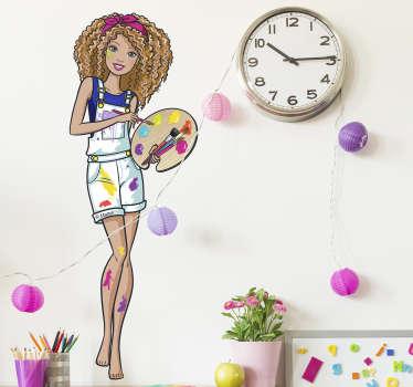 Pegatina Barbie pintora