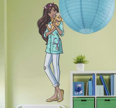 Adesivo de parede da Barbie veterinária