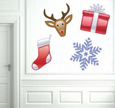 Sticker kerst sneeuwvlok hert sok cadeau