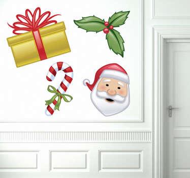 Colección cuatro pegatinas Navidad