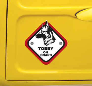 Autosticker herder on board personaliseerbaar