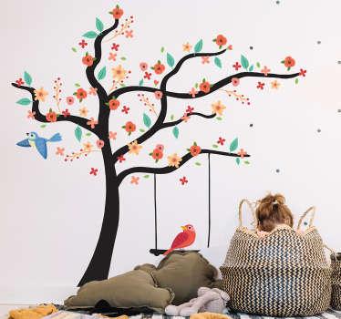 Muursticker boom vogels bloemen