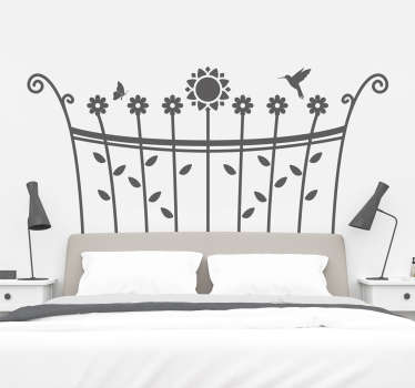 Vinyl headboard sticker for bedroom space created with the design of spring flowers and it is available in different colours and size options.
