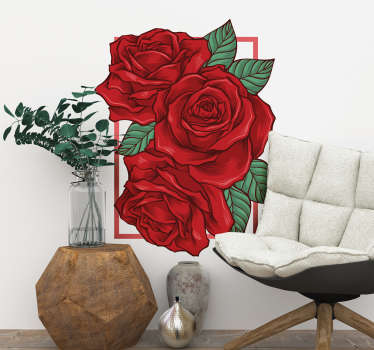 Rose flower wall art sticker designed on a frame background surface. It is decorative for home, office and business space.