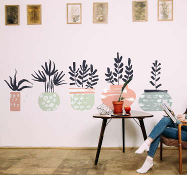 Decorative plant wall art sticker for home and office space decoration.The design is featured with plants in pots and it is available in any size.