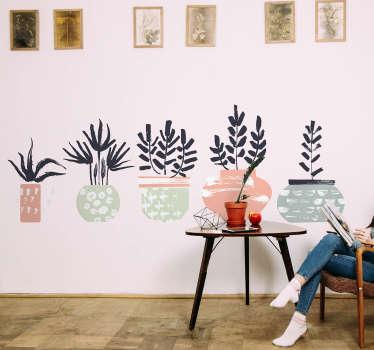 Naklejka na ścianę pięć doniczek z roślinami